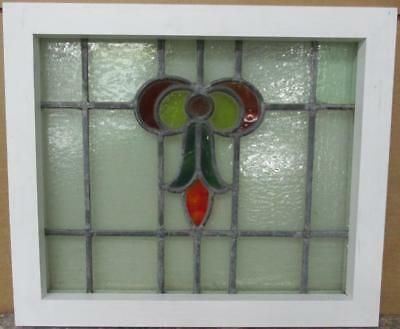 "OLD ENGLISH LEADED STAINED GLASS WINDOW Gorgeous Bow & Drop Design 20"" x 17"""