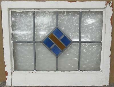 "MID SIZED OLD ENGLISH LEADED STAINED GLASS WINDOW Diamond Design 23.5"" x 18.75"""