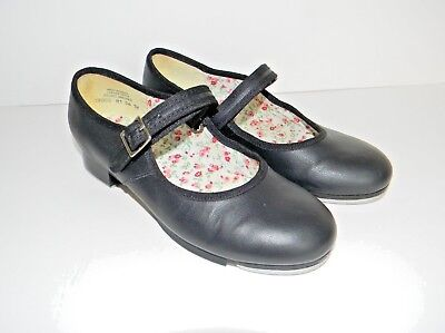 Capezio Black Mary Jane Tap Shoes Girls 1M Youth Kids Strap Dance Hook Loop