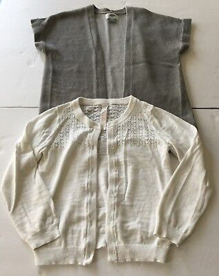 Lot Of 2 Girl's Size 5T Sweaters (White Cardigan/Gray Open Front Sleeveless)