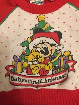 VINTAGE 80s Disney BABY FIRST CHRISTMAS Minnie Mouse Sweatshirt New Born-6 Month