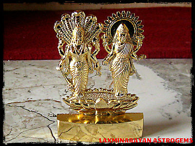 Lord Vishnu Laxmi Lakshmi Narayana Antique Gold Plated Metal Idol Energized