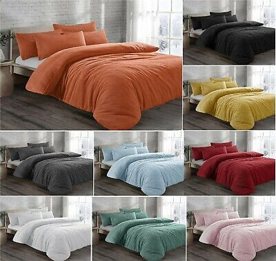 Luxury TEDDY Fleece Duvet Cover Set With Pillow Case Cosy Warm Soft Bedding Sets