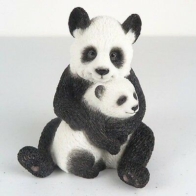 "Mother Panda Hugging Cub Detailed Figurine Miniature Statue 4.25""H New in Box"