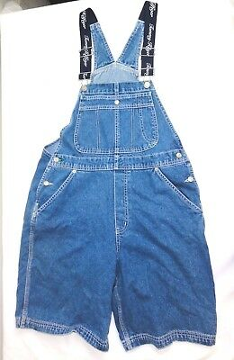 Tommy Hilfiger Womans Overall Jeans Blue Denim Large Tall 100% Cotton Shorts