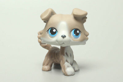 Littlest Pet Ship Grey Collie Dog #67 w Blue Eyes lps Vintage