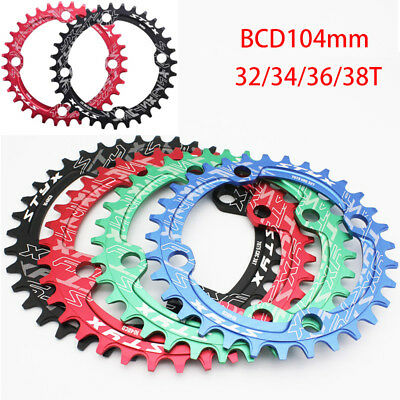 BCD104mm Moutian Bike Chainring Single Speed Narrow Wide Chain Ring 32T-38T New