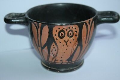 ANCIENT GREEK RED FIGURE  POTTERY OWL SKYPHOS 4th CENTURY BC WINE CUP