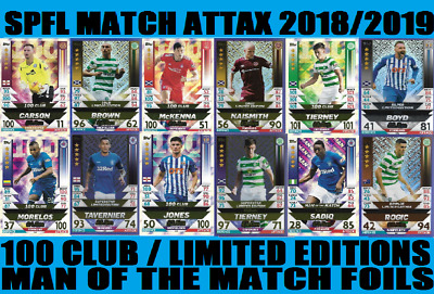Match Attax Spfl 2018/2019 18/19 100 Clubs / Limited Editions / Man Of The Match