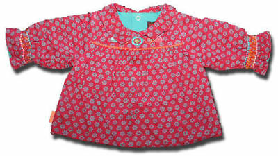 Immaculate French Designer CATIMINI Size 1 month 54cm Red PEASANT Blouse