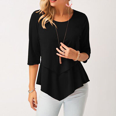 Womens Layered Three Quarter Sleeves Casual Top Summer Loose Blouse 6A