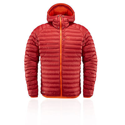Haglofs Mens Essens Mimic Hooded Jacket Top Red Sports Outdoors Breathable