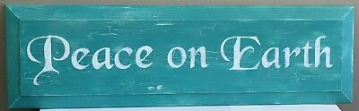 Peace on Earth Teal Hand Painted Sign 34 Inches Wall Decor