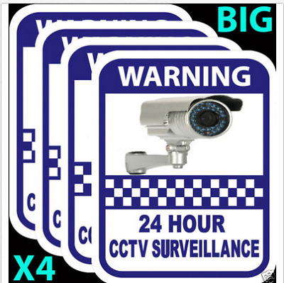 4xCCTV  Security Sign Camera Warning Stickers Surveillance Vinyl Decal Video