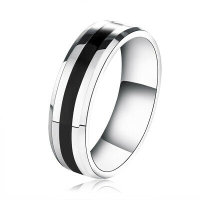 Women's Men's Stainless Steel Silver Black Wedding Band Ring Jewelry Size 4-13