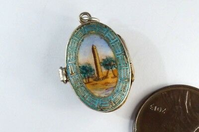 Antique Egyptian Revival Silver Gilt Enamel Obelisk Moses Basket Charm