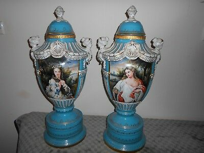 Sevres Style Large Pair Of Lided Urns.