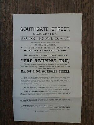 Auction Sale Particulars Trumpet Inn Southgate Street Gloucester 1908