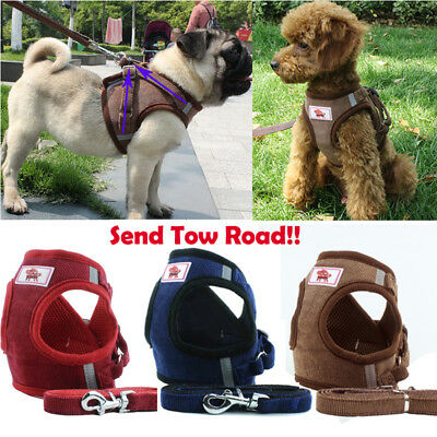 Adjustable Puppy Dog Pet Vest Harness Soft Nylon Leash Collar WalkOut Hand Strap