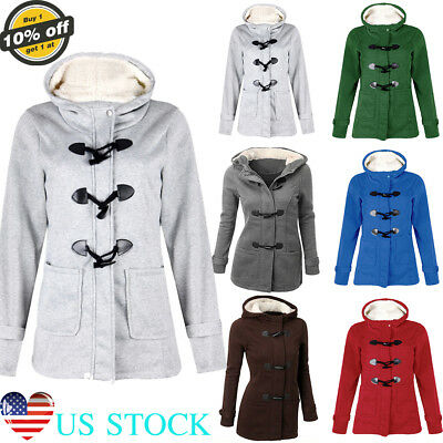 Multicolor Women Thickened Coats Winter Warm Button Hoodies Ladies Hooded Jacket