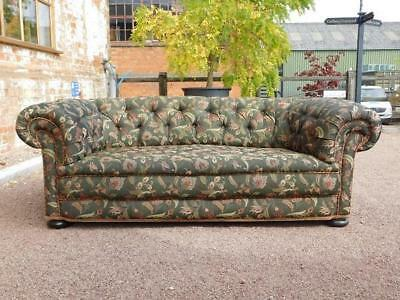 A Stunnning Antique Chesterfield Sofa In Woven Floral Art Nouveau Style Fabric