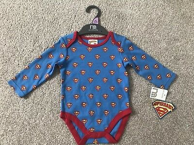 New Baby Boy long sleeve vest/bodysuit Superman Mothercare 6-9 Months