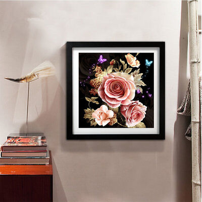 Rose Butterfly Embroidery DIY Needlework Full Diamonds Plated 5D PaintingÇ