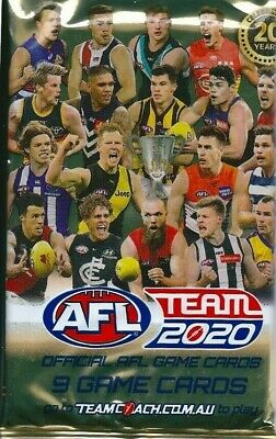 10 x 2019 AFL TEAMCOACH FOOTY PACKS 90 TRADING CARDS TEAM COACH RANDOM PICK