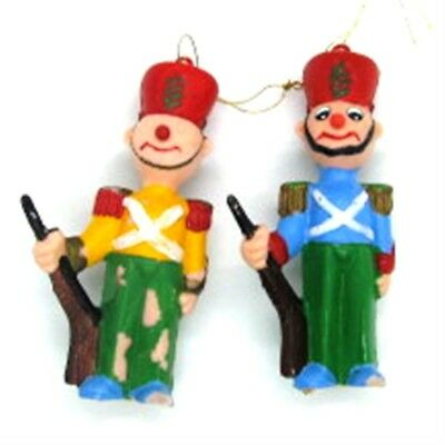 Nutcrackers Lot of 2 Injection Mold Plastic Vintage Ornaments 1950s