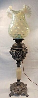 "Antique 1890's Pewter Brass & Onyx Oil Banquet Lamp Vaseline Coin Dot 11"" Shade"