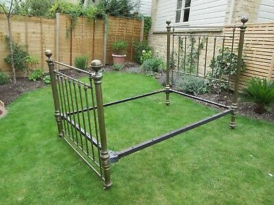 "Genuine Antique Victorian Brass Double Bed 4'6"" x 6'"