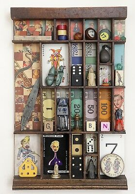 Vintage Small Wooden Printers Tray Artwork with Games, Pastimes & Sports Theme