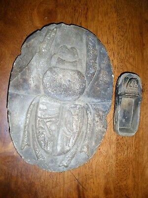 ANCIENT EGYPT ,  STONE SCARAB & boat stone antique