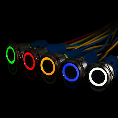 12mm Metal Annular Push Button Black Switch Ring LED Light Momentary Latch CC