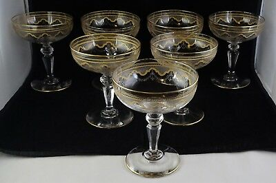 Seven St. Louis Crystal Beethoven Champagnes #851 Etched Frosted Band Gold Tr.