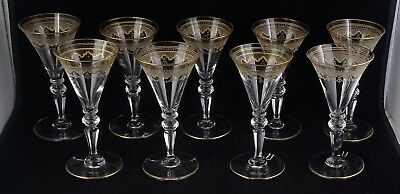 Nine St. Louis Crystal Beethoven Small Wines #851 Etched Frosted Band Gold Tr.