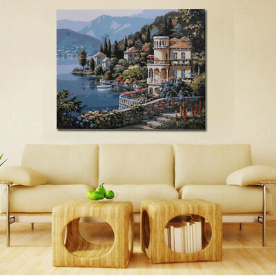 Diy Painting Hand-painted Seaside Palace Wall Decoration Digital Cotton FabricÇ