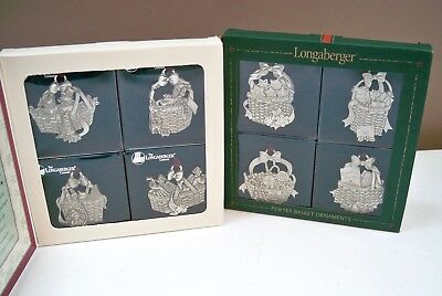 Lot of 8 Different Longaberger Pewter Basket Ornaments - 1997 Box & 2002 Box