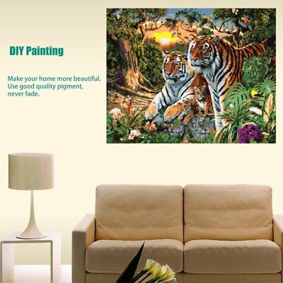Frameless Oil Painting Canvas Painting Tiger Parents Tiger Babies In The WoodsÇ