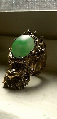 Solid Bronze Shaolin Monk Abbot's  Light Jade Ring