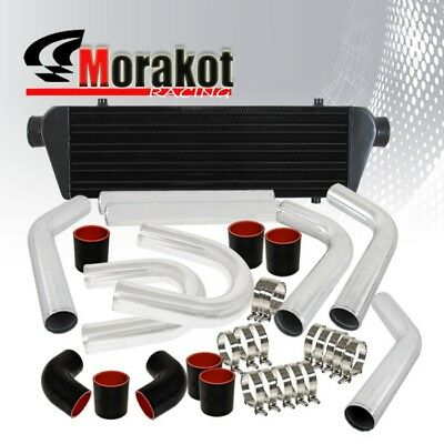 "Car Universal 28"" Intercooler Black+2.5"" Inch 8Piece Piping Kit U-Pipe Polished"