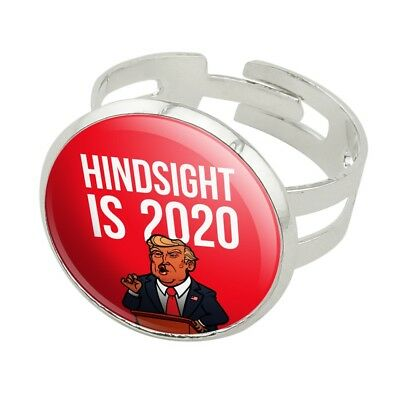 Donald Trump Hindsight is 2020 Silver Plated Adjustable Novelty Ring