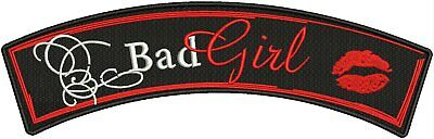 BaD Girl Red white and Black Iron on Small Badge Patch for Women Biker Vest