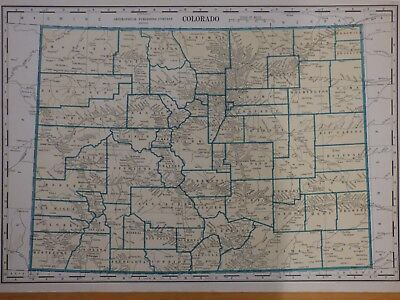 1934 LARGE COUNTY map of Colorado, Geographical Pub Co, Gazatteer ...