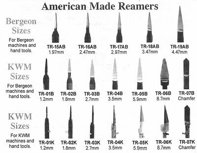 New American Made Reamers for Bergeon or KWM Machines & Hand Tools - 19 Choices!
