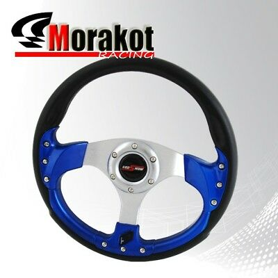 Universal Jdm 320mm Racing Fusion Style 6 Bolt Steering Wheel Blue+Horn Button