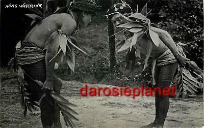 c1930s Indonesia RPPC Ethnic NIAS WARRIORS Island near SUMATRA