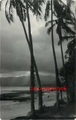 1930s INDONESIA RPPC BALI ~ STORM Tropical Landscape BEACH Bay #216