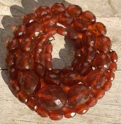 Antique Old Chinese Faceted Cognac Honey Baltic Amber Oval Bead Necklace 32.5""