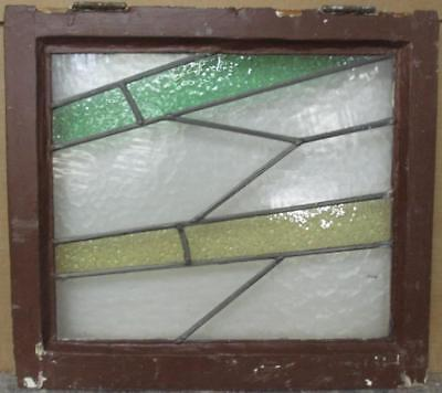 """OLD ENGLISH LEADED STAINED GLASS WINDOW Gorgeous Geometric Bands 20.75"""" x 18.75"""""""